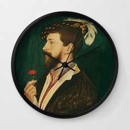 """Hans Holbein the Younger """"Portrait of Simon George of Cornwall"""" Wall Clock"""