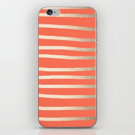 Simply Drawn Stripes in White Gold Sands on Deep Coral iPhone Skin