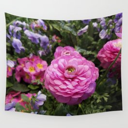 Spring Rosy Ranunculus And Primrose With Violet Violas Wall Tapestry