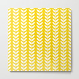 Yellow and White Scandinavian leaves pattern Metal Print