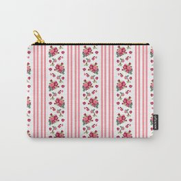 Vintage Floral Stripes - Coral Rose Carry-All Pouch