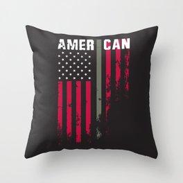 American Military Flag Throw Pillow