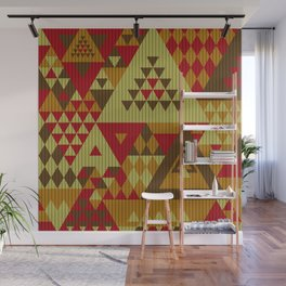 triangles-brown-red-orange-KNIT Wall Mural