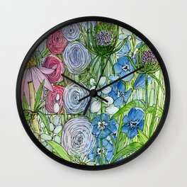 Rainbow Garden Watercolor Ink Painting Wall Clock