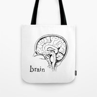 brain Tote Bags featuring Brain by Etiquette
