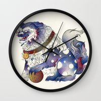 foo fighters Wall Clocks featuring Foo Dog by Chanel Harris