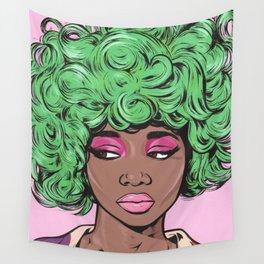 Green Kawaii Black Comic Girl Wall Tapestry