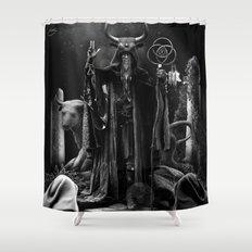 V. The Hierophant Tarot Card Illustration  Shower Curtain