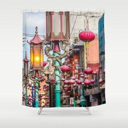 Chinatown Lanterns Shower Curtain