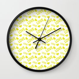 Love Heart Yellow Wall Clock