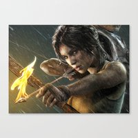 tomb raider Canvas Prints featuring TOMB RAIDER by Ylenia Pizzetti