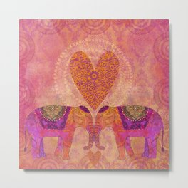 Elephants In Love With Heart Metal Print