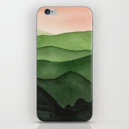 Watercolor layers of mountains iPhone Skin