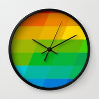 valar morghulis Wall Clocks featuring Rainbow Tiles by beatrice