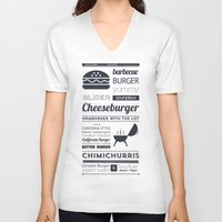 hamburger V-neck T-shirts featuring Hamburger  by 16floor