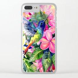 Hummingbird and Plumerias Clear iPhone Case