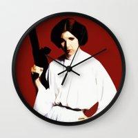 princess leia Wall Clocks featuring Princess Leia by Ms. Givens
