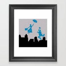 Mary Poppins glittsy Blue Framed Art Print