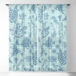 Sea Life Print with Fish Turtles and Seahorses in Ocean Blue Teal Sheer Curtain