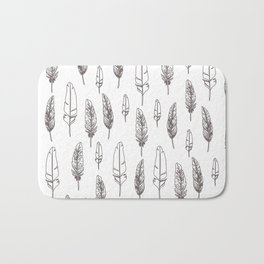 monochrome Feathers Bath Mat