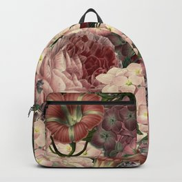 Vintage & Shabby Chic Pink Dark Floral Roses Lilacs Flowers Watercolor Pattern Backpack