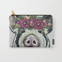 Cute Pig Art, Pig with Flower crown Art Carry-All Pouch