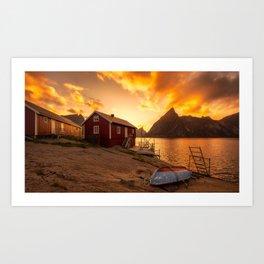 Sunset at The Coast Art Print