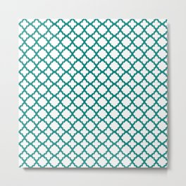 Lattice White on Teal Metal Print