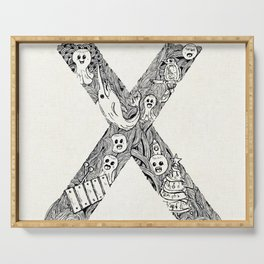 Hand drawn letter x background Serving Tray