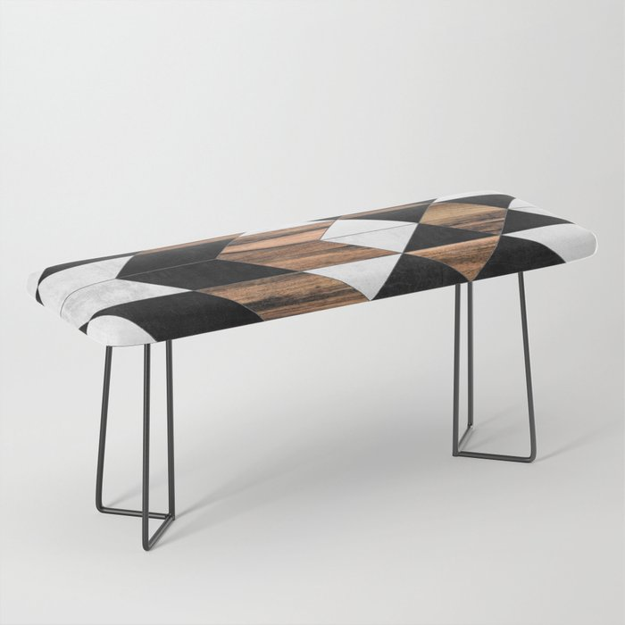 Urban Tribal Pattern No.9 - Aztec - Concrete and Wood Bench
