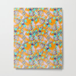 Floral Burst in Ochre Metal Print