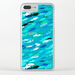 School of Fish, Shades of Turquoise and Aqua Clear iPhone Case