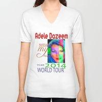 concert V-neck T-shirts featuring Adele Dazeem Concert Tee by Danadu