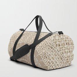 Unique Texture Taupe Burlap Mandala Design Duffle Bag