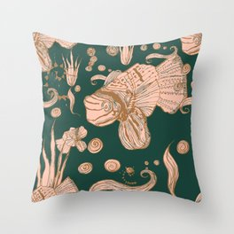 Exotic Fish - rosé,gold, green, pattern Throw Pillow