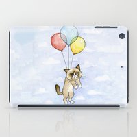 meme iPad Cases featuring Cat With Balloons Grumpy Birthday Meme by Olechka