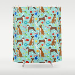 Boxer terrier dog breed pet portrait dog toy cute pet art animal fur baby boxer owner must have gift Shower Curtain