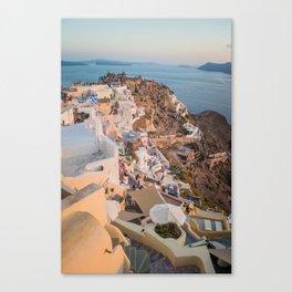 Golden Hour | Landscape Photography of Santorini Sunset Over Greece White Buildings Canvas Print