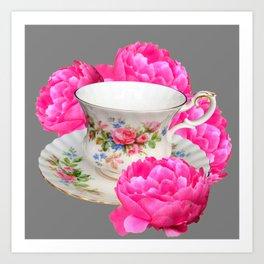 FLORAL TEA CUP & PEONY FLOWERS YELLOW ART Art Print