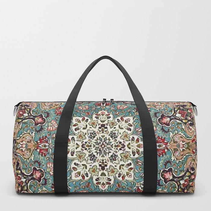 Antique Red Blue Black Persian Carpet Print Duffle Bag