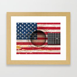 Old Vintage Acoustic Guitar with American Flag Framed Art Print