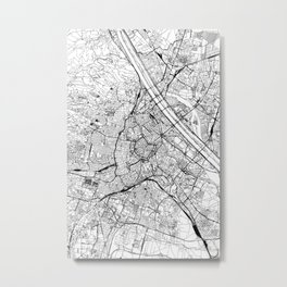 Vienna White Map Metal Print