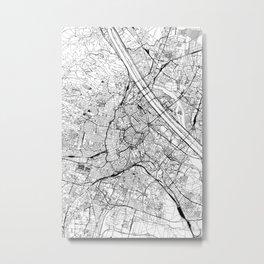 Vienna White Map Metal Print