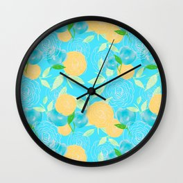 06 Yellow Blooms on Blue Wall Clock