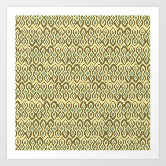 warm boardwalk ikat Art Print