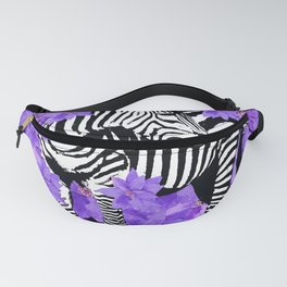 ZEBRA AND PURPLE FLOWERS Fanny Pack