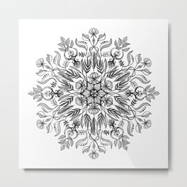 Thrive - Monochrome Mandala Metal Print