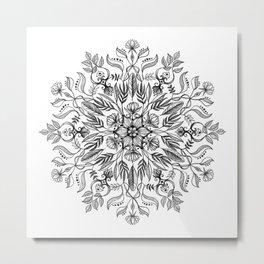 Thrive - Monochrome Mandala Metal Print