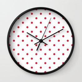 Polka Dots Pattern: Red Wall Clock