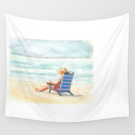 Lady Reading on Beach Wall Tapestry